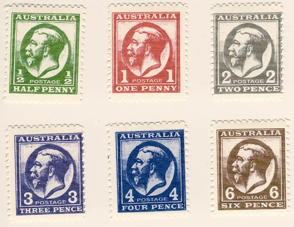 Gerald King - Alternative Australia - 1913. King George V Stamps (Low values) - Perforated
