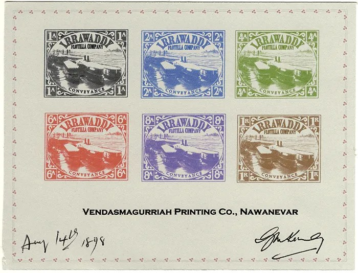 Gerald King - Alternative Burma - 1898 Irrawaddy Flotilla Company - Signed Proof Sheet 2