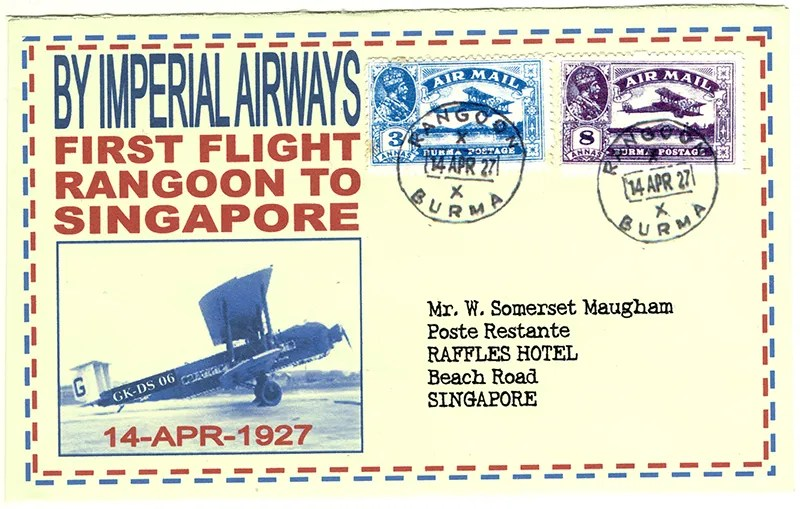 Gerald King - Alternative Burma - 1927 - Cover 1 - First flight from Rangoon (Air Mail) (Front)