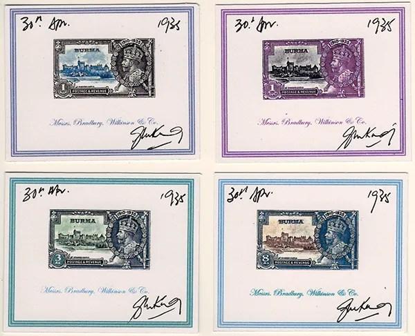 Gerald King - Alternative Burma - 1935. Silver Jubilee Set - Proofs