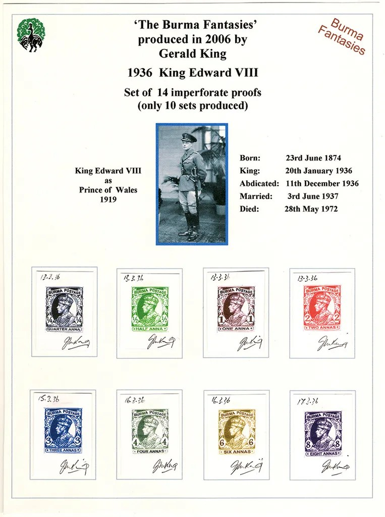Gerald King - Alternative Burma - 1936 King Edward VIII (14 signed proofs) (Picture 1 of 2)