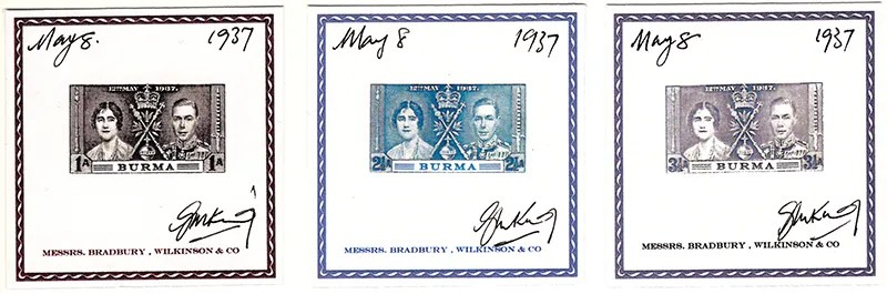 Gerald King - Alternative Burma - 1937. King George VI Coronation - Proofs