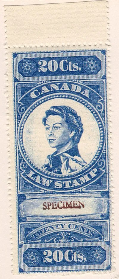 """Gerald King - Canadian Law Stamps - Canadian Law Stamp - Specimen Stamp 20 Cents. From: year 2000. In year 2000 The Revenue Society of Great Britain commissioned Gerald King to produce an """"essay"""" of what the Canada 20 cents revenue stamp from year 1876 would look like if the design had been continued in to the reign of Elizabeth II. The stamps were produced in sheets of 5 stamps and sheets of 6 stamps. The sheets of 5 stamps had the center stamp inverted. The sheets of 6 stamps had two rows with 3 stamps each."""