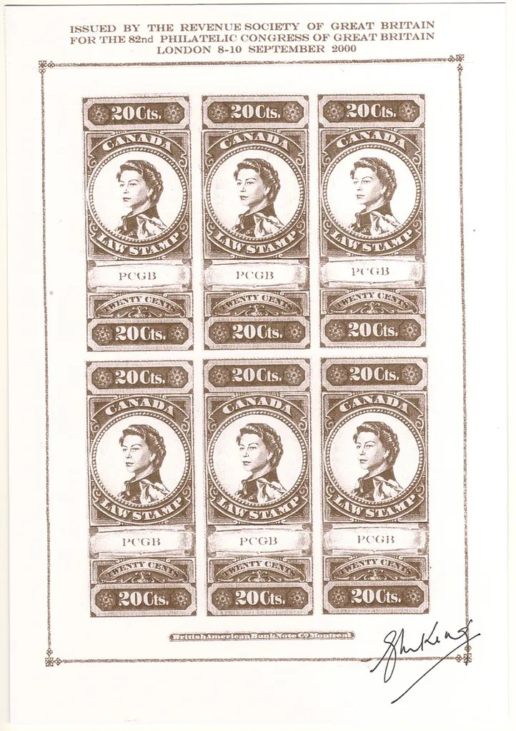 """Gerald King - Canadian Law Stamps - Color Trial Proof (Brown with PCGB). From: year 2000. In year 2000 The Revenue Society of Great Britain commissioned Gerald King to produce an """"essay"""" of what the Canada 20 cents revenue stamp from year 1876 would look like if the design had been continued in to the reign of Elizabeth II. The stamps were produced in sheets of 5 stamps and sheets of 6 stamps. The sheets of 5 stamps had the center stamp inverted. The sheets of 6 stamps had two rows with 3 stamps each."""