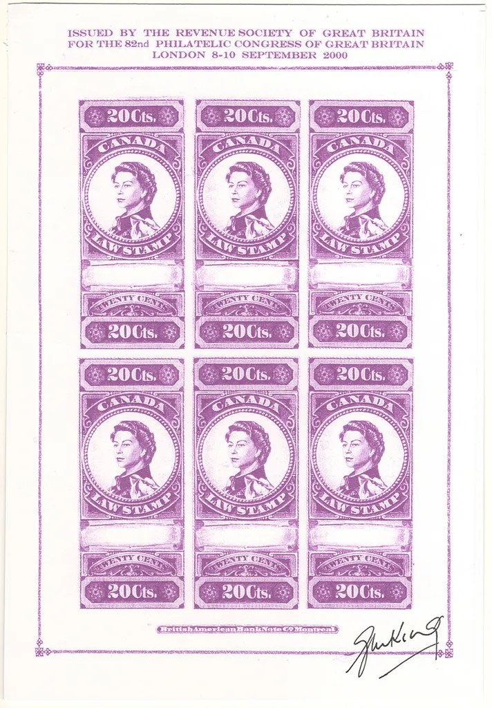 """Gerald King - Canadian Law Stamps - Color Trial Proof (Violet without PCGB). From: year 2000. In year 2000 The Revenue Society of Great Britain commissioned Gerald King to produce an """"essay"""" of what the Canada 20 cents revenue stamp from year 1876 would look like if the design had been continued in to the reign of Elizabeth II. The stamps were produced in sheets of 5 stamps and sheets of 6 stamps. The sheets of 5 stamps had the center stamp inverted. The sheets of 6 stamps had two rows with 3 stamps each."""