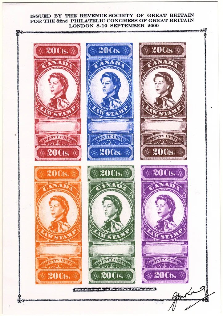 """Gerald King - Canadian Law Stamps - Proof Sheet. From: year 2000. In year 2000 The Revenue Society of Great Britain commissioned Gerald King to produce an """"essay"""" of what the Canada 20 cents revenue stamp from year 1876 would look like if the design had been continued in to the reign of Elizabeth II. The stamps were produced in sheets of 5 stamps and sheets of 6 stamps. The sheets of 5 stamps had the center stamp inverted. The sheets of 6 stamps had two rows with 3 stamps each."""