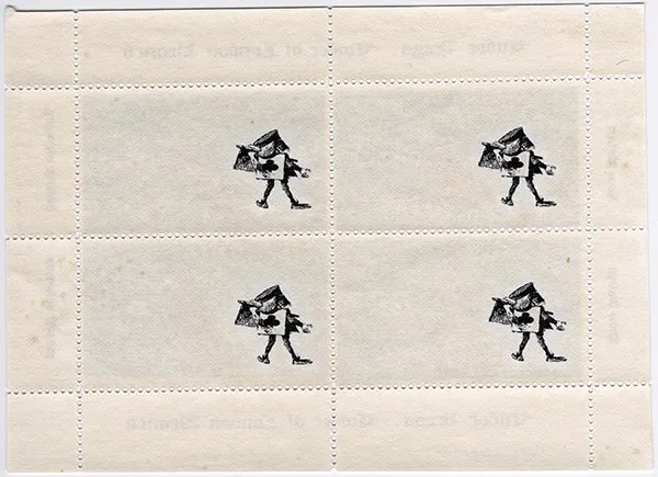 Gerald King - Matrimonial Cause - Sheetlet of 4 stamps (Back). Sheetlet showing the beheaded necks of Anne Boleyn (King Henry VIII´s third wife) and Catherine Howard (King Henry VIII´s fifth wife). The sheetlet is underprinted with the executioner from Wonderland.