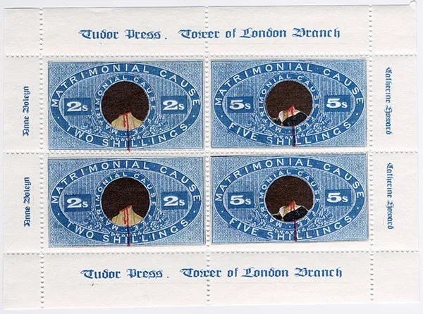 Gerald King - Matrimonial Cause - Sheetlet of 4 stamps (Front). Sheetlet showing the beheaded necks of Anne Boleyn (King Henry VIII´s third wife) and Catherine Howard (King Henry VIII´s fifth wife). The sheetlet is underprinted with the executioner from Wonderland.