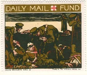 Gerald King - '1916 Daily Mail, Red Cross Fund' reproduction Cinderella stamps. Set of 6 stamps without values. Stamp 2 of 6.