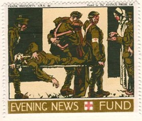 Gerald King - '1916 Daily Mail, Red Cross Fund' reproduction Cinderella stamps. Set of 6 stamps without values. Stamp 4 of 6.