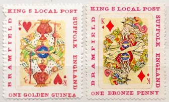 Gerald King - Gerald's Own Labels - Two stamps (King of Hearts & King of Diamonds)