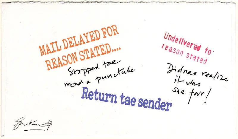Gerald King - Oor Wullies Private Post - Express Delivery Cover (Back) - Signed