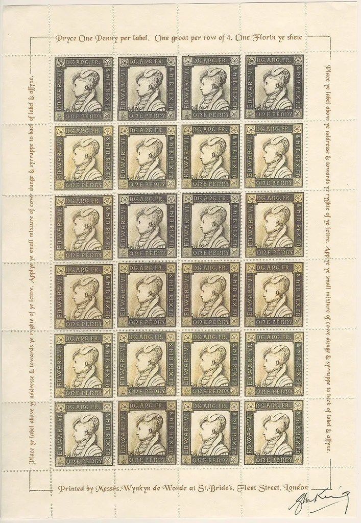 Gerald King - The Tudor House - Sheets of 24 stamps - Edward VI (Third monarch). There are 5 different sheets of 24 stamps each, showing the five Tudor monarchs (Henry VII, Henry VIII, Edward VI, Mary I & Elizabeth I).