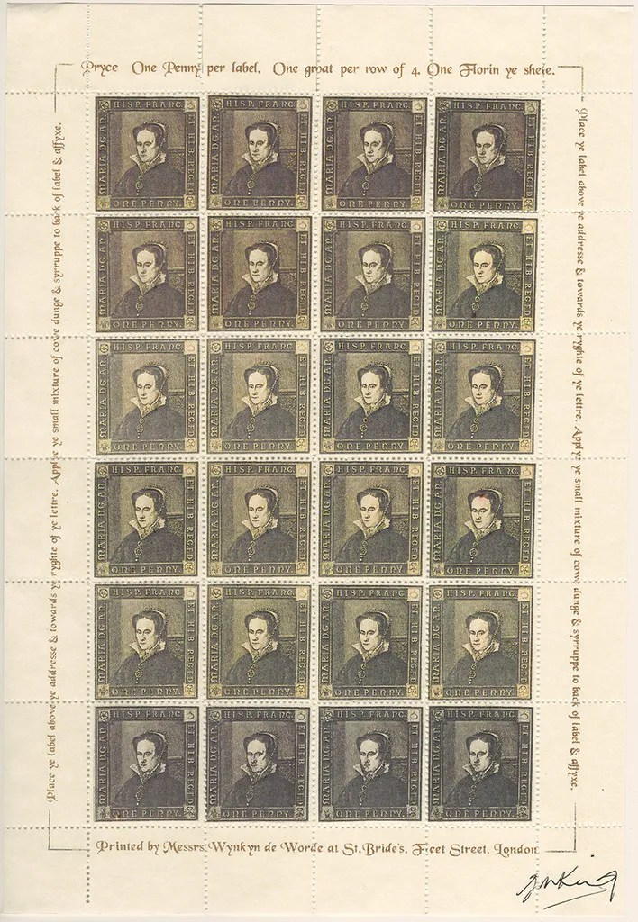Gerald King - The Tudor House - Sheets of 24 stamps - Mary I (Fourth monarch). There are 5 different sheets of 24 stamps each, showing the five Tudor monarchs (Henry VII, Henry VIII, Edward VI, Mary I & Elizabeth I).