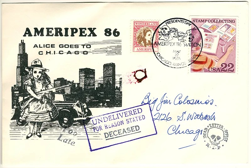Gerald King - Ameripex 86 (Alice Goes To Chicago) - Addressed to Big Jim Colosimo - Cover (1 of 2). From May 22, 1986. James