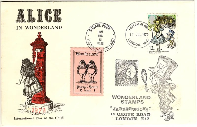 Gerald King - The Year of The Child - Set 2, Cover 3 (Jabberwocky) - Philatelic Artist Gerald M King's 'Alice in Wonderland' Mr King was especially commissioned by Lake & Brooks in 1979 to design these special covers for 'The Year of the Child'. Complete Set 2: