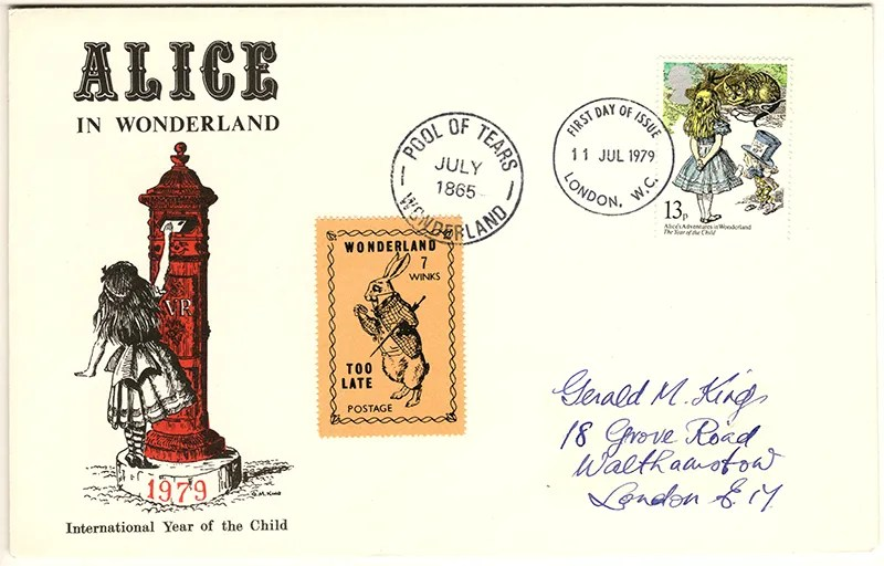 Gerald King - The Year of The Child - Set 3, Cover 1 (Addressed to GK) - Philatelic Artist Gerald M King's 'Alice in Wonderland' Mr King was especially commissioned by Lake & Brooks in 1979 to design these special covers for 'The Year of the Child'. Complete Set 3: