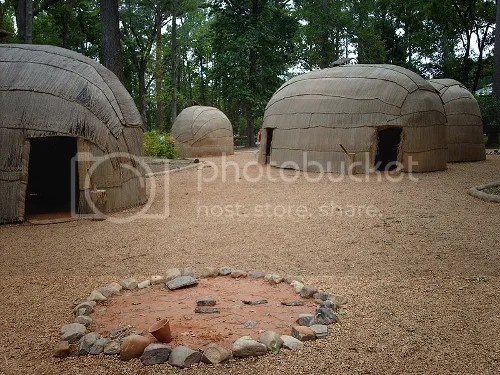 Recreated Powhatan village at the Jamestown Settlement