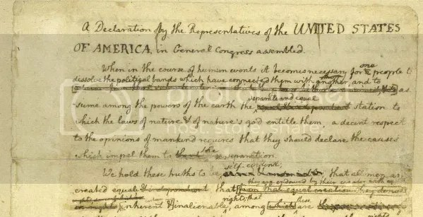 "This is the ""Rough Draft"" text of the Declaration as Jefferson probably presented it to Benjamin Franklin and John Adams"
