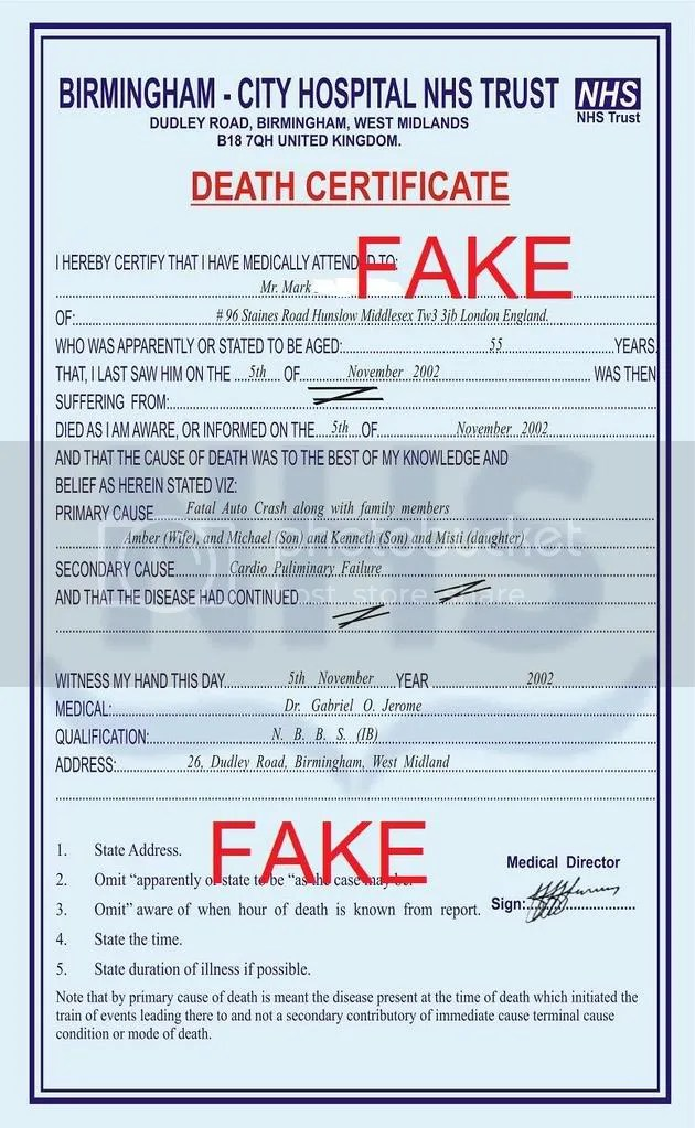 Fake Death Certificate Template  church certificates and forms