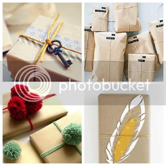 Mooie pakjes - Bruin kraftpapier + veren en touwtjes