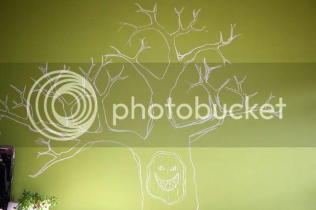 Krijtbord boom - Stap 2 Aflijning op muur aanbrengen