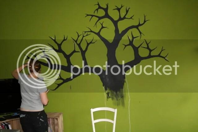 Krijtbord boom - Inkleuren met krijtbordverf