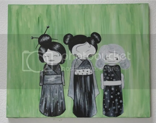 Cute, but dead - ghostly kokeshi dolls painting