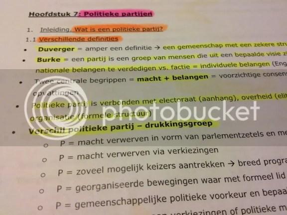 Studeren voor examen politiek
