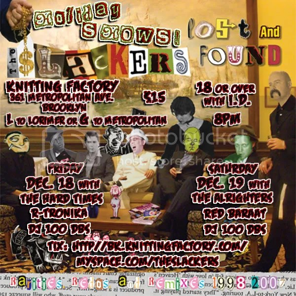 Slackers Holiday Shows Flier