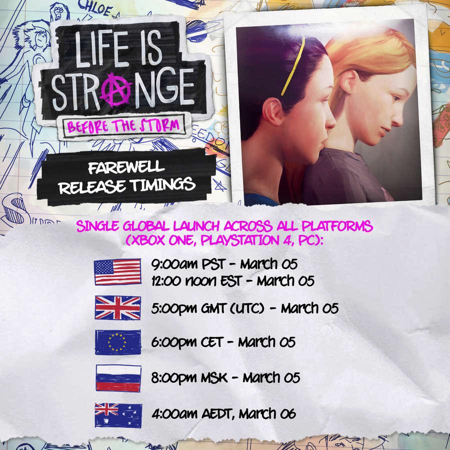 life is strange before the storm, Life is Strange Before the Storm: Date e orari di pubblicazione dell'episodio bonus