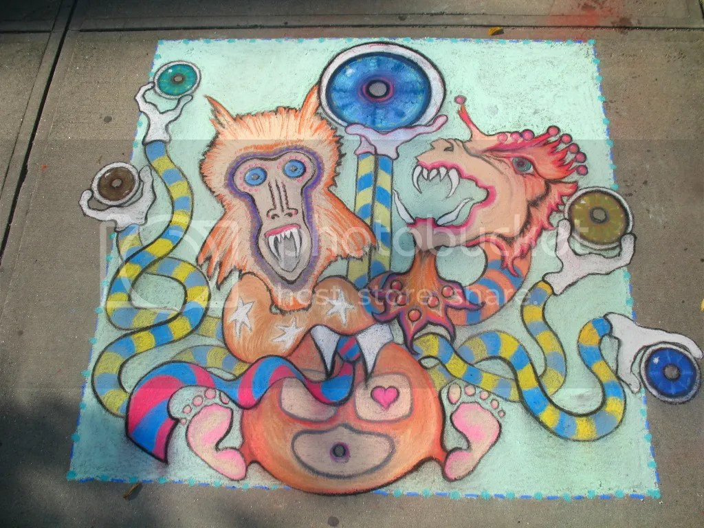 chalk drawing by mark bodah and steph gerolimatos