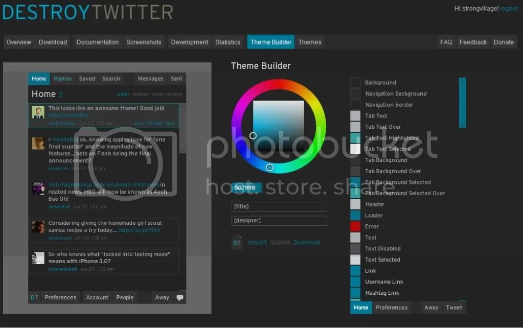 Destroy Twitters Theme Builder