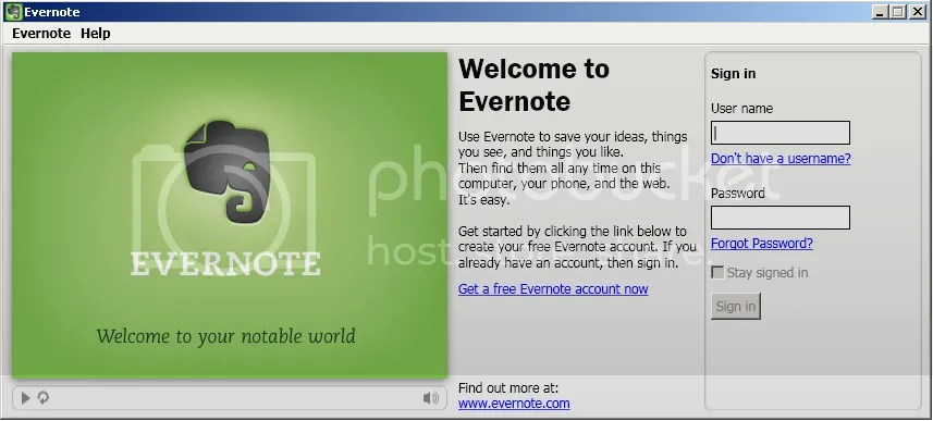 Evernote Sign In page