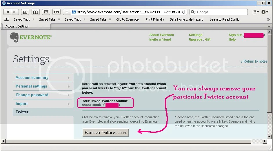 Linking Twitter with Evernote