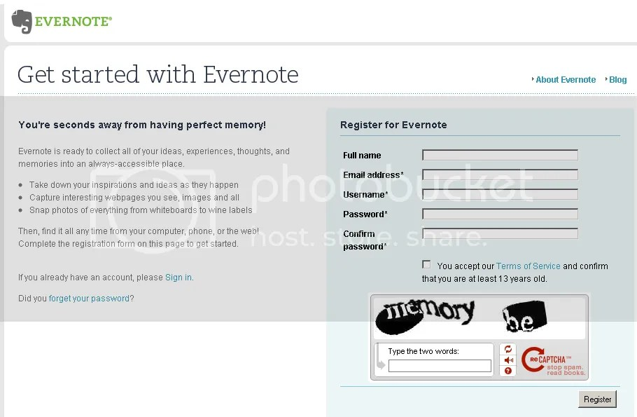 Evernote sign up menu