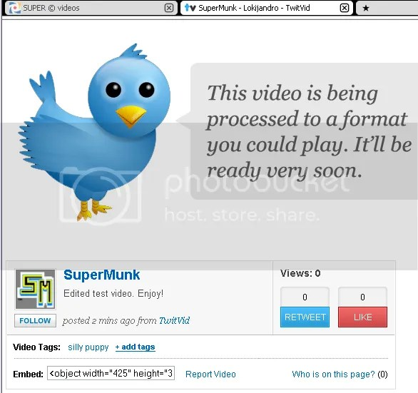 Uploading encoded video to TwitVid