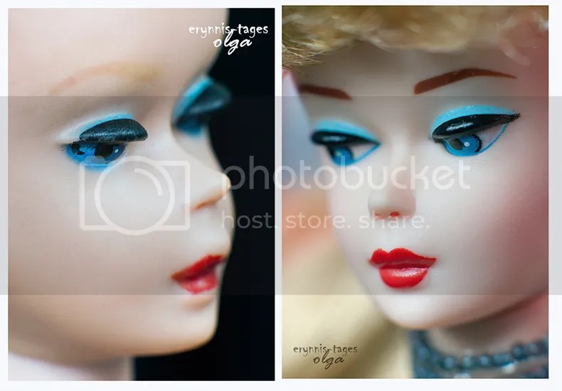 two dolls, two pictures - different moods, different feeling. Vintage Number 3 Barbie with blue eyeliner and blonde brows c.1960( Left-hand side) and a reproduction doll- Nostalgic Solo in the Spotlight Barbie, produced in 1995, who was a reproduction a 1960 doll.