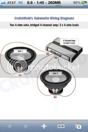Help! Bridged 4 Channel amp Memphis PR450 to 2 4ohm svc