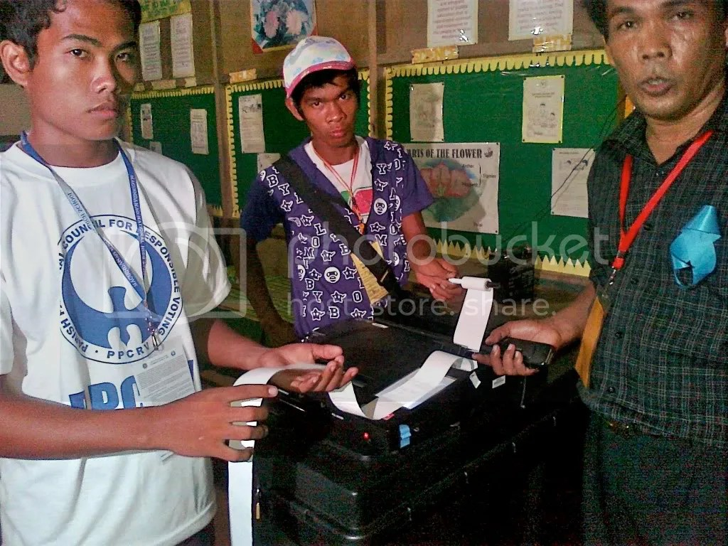BEIs print election returns in a precinct at Shariff Aguak Central Elementary School on May 10, 2010