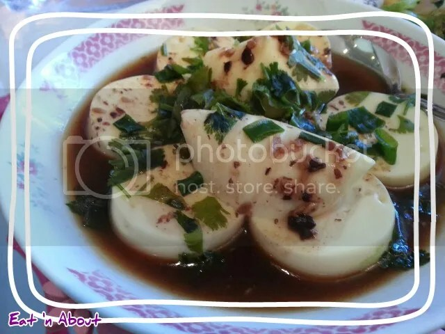 Steamed Egg Tofu with Garlic Black Bean Sauce