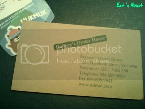 Rodney's Oyster House business card