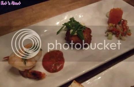 Chop Steakhouse: Seafood Trio - Smoked Salmon, Crab and Shrimp Cakes, Jumbo Prawn Cocktail