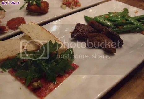 Chop Steakhouse: Steakhouse Trio - Steak Bites, Beef Tenderloin Carpaccio, Spicy Cashew Snap Peas