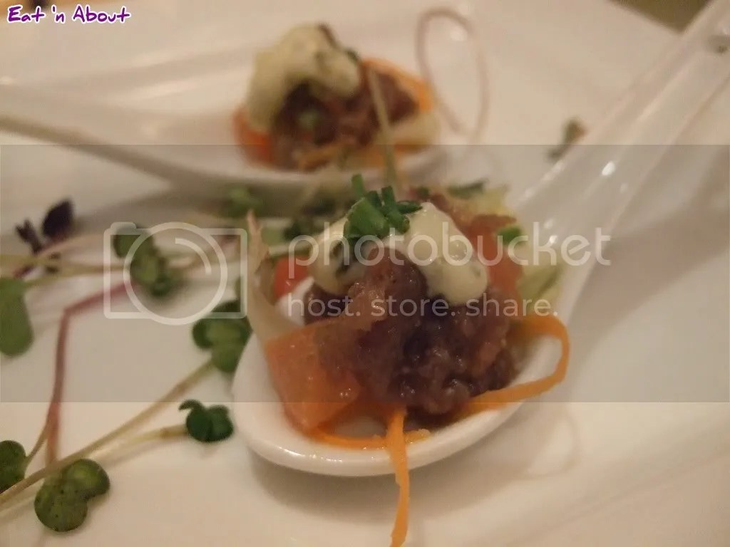 Locals Restaurant: Bison Tartare on Asian Salad Amuse Bouche
