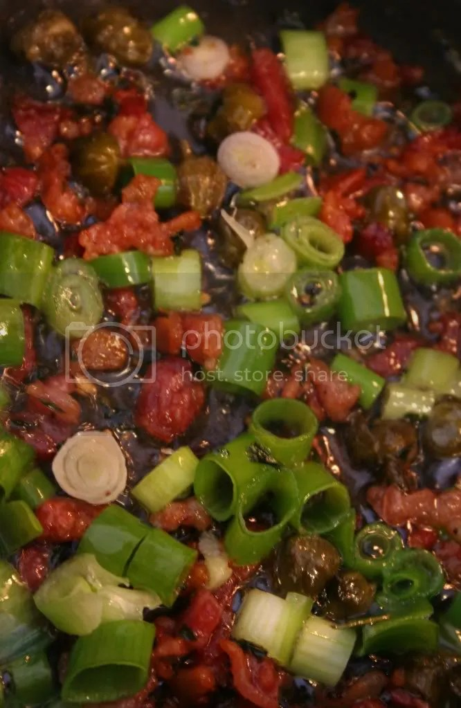 Nice, crispy bacon bits, green onion, and capers :)