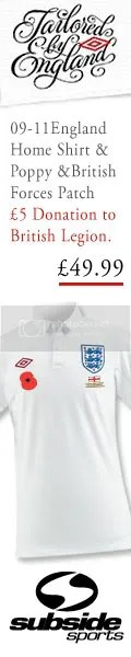England Umbro 2009-11 Poppy Appeal & British Forces Special Edition Home Kit