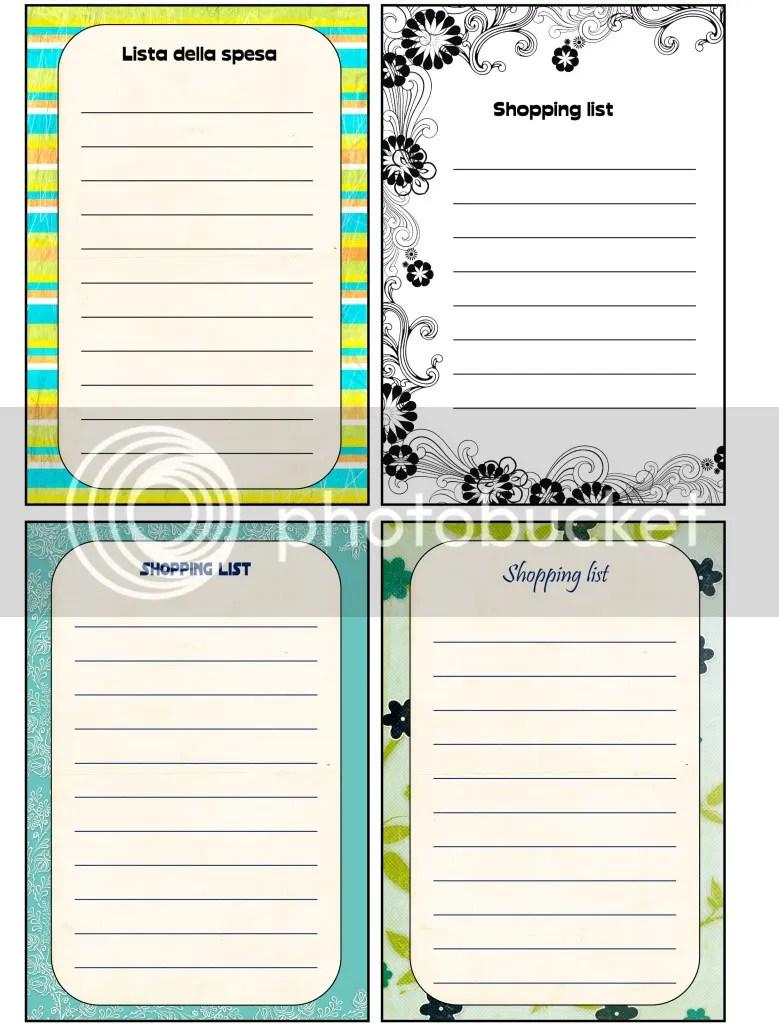 Shopping list Free printable