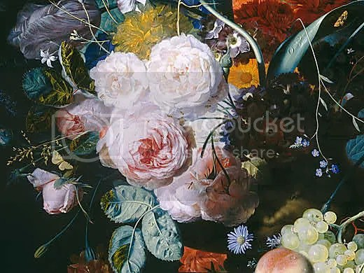 Still Life with Flowers and Fruit, detail (c. 1715), Jan van Huysum (1682 – 1749)