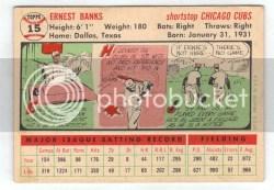 1956 Topps Ernie Banks Back #15